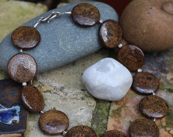 Bronzite Necklace, Hematite Necklace, Silver Necklace, Thai Hill Tribe bead,