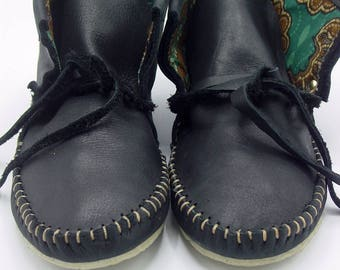 Women's Black Leather High-top Moccasins