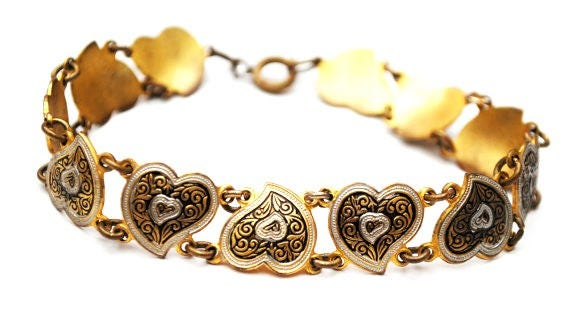 Damascene Heart Link Bracelet - Golden brass  Black white enamel -  bangle