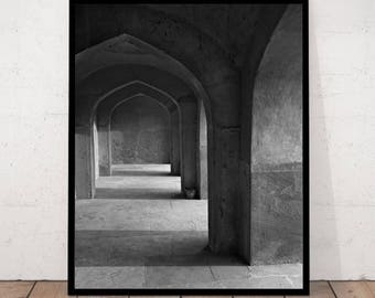 Corridor with Arches, Ancient Architecture, Corridor Print, Corridor Photography, Black and White Photography