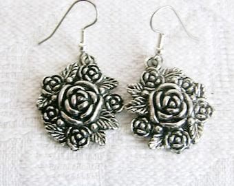 Roses Roses Pierced or Clip On Earrings