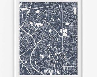 Hanoi Map, Vietnam Poster, Hanoi Poster, Hanoi Print, Vietnam Print, Vietnam Map, Street Map, Wall Decor, Mothers Day Gift