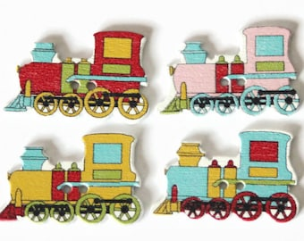 10 Train Buttons 19mm x 31mm - Vehicle Buttons - Train Shapes - Mixed Coloured - White Wood - Boys Button - Transport Novelty Button - PW382