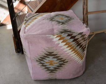 Pink Navajo Pouf/ Floor Cushion