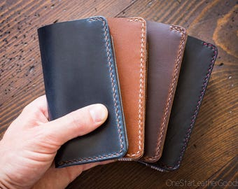 """BUILD-YOUR-OWN - iPhone 6, 7 & 8 (4.7"""") cell phone wallet case in Horween leather"""