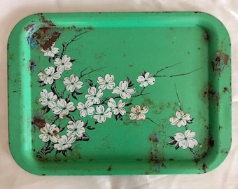 VERY Shabby Chic / Cottage Chic Primitive Mid-Century Mint Green Metal Serving Tray with White Cherry Blossom Design