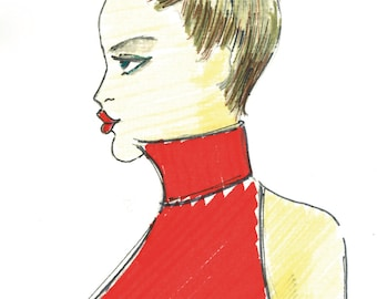 The zodiac sign Capricorn as fashion illustration