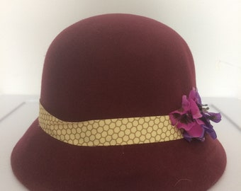 Fusia cloche hat with pansies