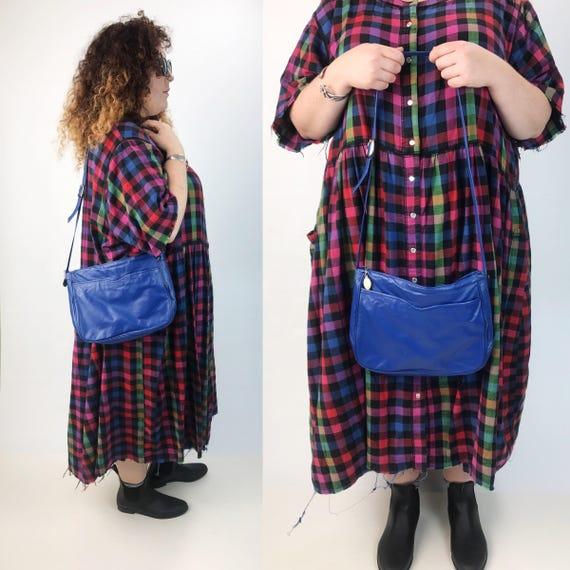 80's Cobalt Blue Leather Purse/Shoulder Bag - Basic Blue Granny Purse Vintage Solid Color Everyday Purse - VTG Leather Blue Statement Bag