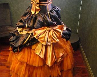 Orange and Brown Wedding Dress Halloween Wedding Dress Custom Made to your Measurements by Award Winning Bridal Salon
