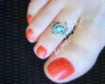 Dolphin Toe Ring, Dolphin Ring, Turquoise Pearl Bead, Silver Beads, Silver Toe Ring, Silver Ring, Toe Ring, Ring, Stretch Bead Toe Ring