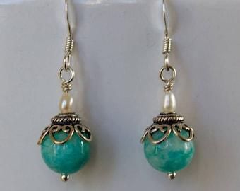 amazonite dangle earrings amazonite jewelry beaded jewelry handmade jewelry gifts for her
