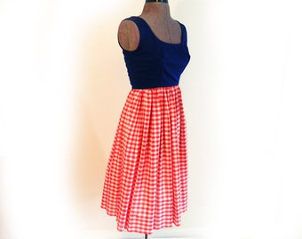 Vintage Casual Party Dress 1960s Red White and Blue Designer Sandine Original Darted Bodice Empire Waist, Sun Dress, Picnic or Beach