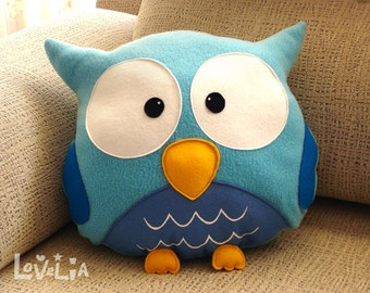 BLUE OWL CUSHION RainbOWL -Decorative plush pillow -