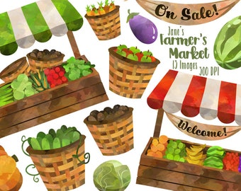 Watercolor Farmer's Market Clipart - Watercolor Market Stalls Download - Instant Download - Vegetable and Fruit Stalls and Baskets