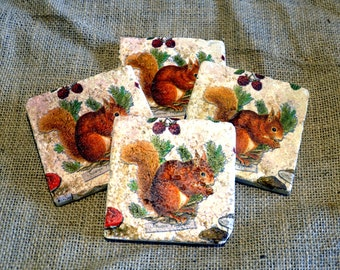 Squirrel Natural Stone Coaster