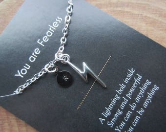 Lightning bolt necklace, personalized necklace, fearless necklace, inspirational gift