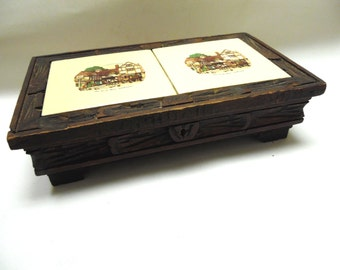 Wood Tile Mens Womens Jewelry Box Valet Cuff Link Storage Old Coach House Woolhampton