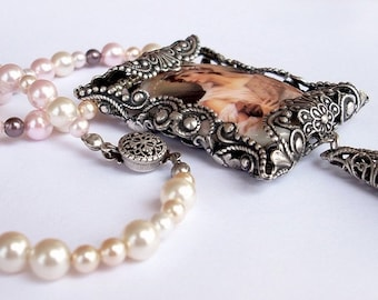 Pink pearl necklace Silver Filigree Victorian cameo Necklace Pink Porcelain Cabochon and Swarovski Pearls - Peach Rose Light Pink