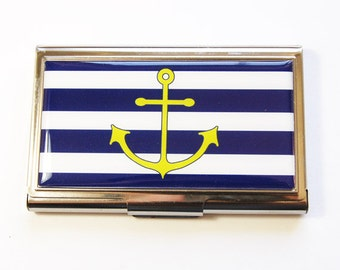 Nautical card case, Business Card Case, Card case, business card holder, Sailing, Anchor, Navy, Green (2929)