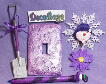 Purple Christmas Deco Bag of the month club subscriptions includes purple pens ornaments switch plate cover and pin or brooch