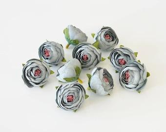 Peonies mini, artificial flowers, silk ranunculus, silk flowers, gray peonies, faux, 1.6'' or 4cm diameter flowers. Set of 10 pcs