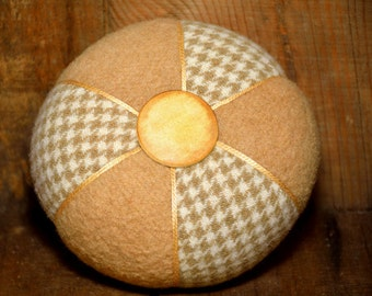 Beige and Houndstooth Two-Wool Pincushion