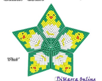 Beading Pattern/Tutorial Easter CHICK 3D PEYOTE STAR + Basic Instructions