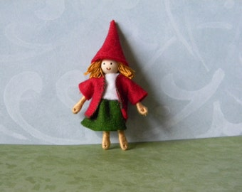 small elf bendy doll dressed in green skirt and red jacket handmade with wool felt, Christmas ornament
