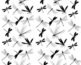 Black Dragonflies - Ceramic Waterslide Decal - Enamel Decal - Fusible Decal - 78922