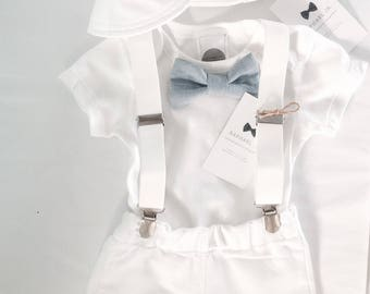Baby boy Baptism outfit white bodysuit, suspenders and matching white/blue or grey bow tie and shorts