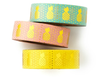 3 set of foil pineapple Washi Tape -craft supplies-planner stickers-erin condren-scrapbooking -gold masking- decorative tape-Love My Tapes