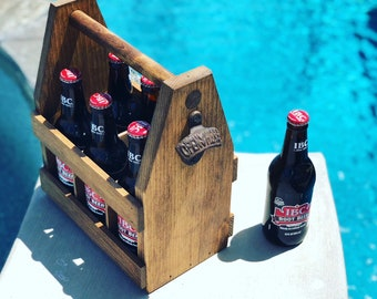 Beer Wooden Holder / Carrier / Caddy. Fast Shipping. Wood Holds six pack. Groomsman Wedding. Perfect for a man who has everything
