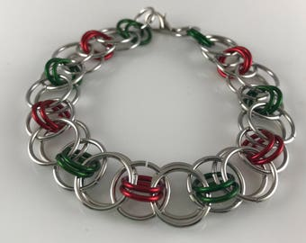 Sale 25% off Red Green and Silver Helm Chain Chainmaille Bracelet
