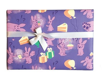 Magical Birthday Gift Wrap    birthday wrapping paper, cute wrapping paper, funny gift wrap sheet, birthday paper, bunny paper
