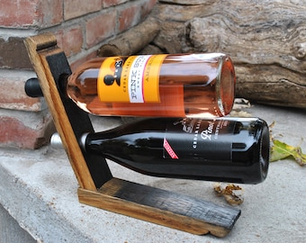 Wine Rack made from Charred End of Whiskey Barrel Stave, Handmade Wine Rack, Gifts for Wine Lovers, Bar