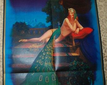 1936-Art-Deco Pin Up Girl ägyptischen Revival Kalender riesige Poster Flapper