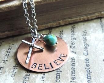 Believe Necklace - Christian Jewelry - Cross Necklace - Inspirational Religious Jewelry