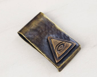 Hand Forged Brass All Seeing Eye Money Clip. Men's Accessories. Unisex. Tattoo Inspired. New Rustic. Vintage Style. Occult Symbolism.