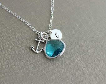Sterling Silver Anchor and Aqua Blue Bezel Set Glass gem Stone with Sterling Initial Necklace, Personalized, Turquoise, Teal, Beach Necklace