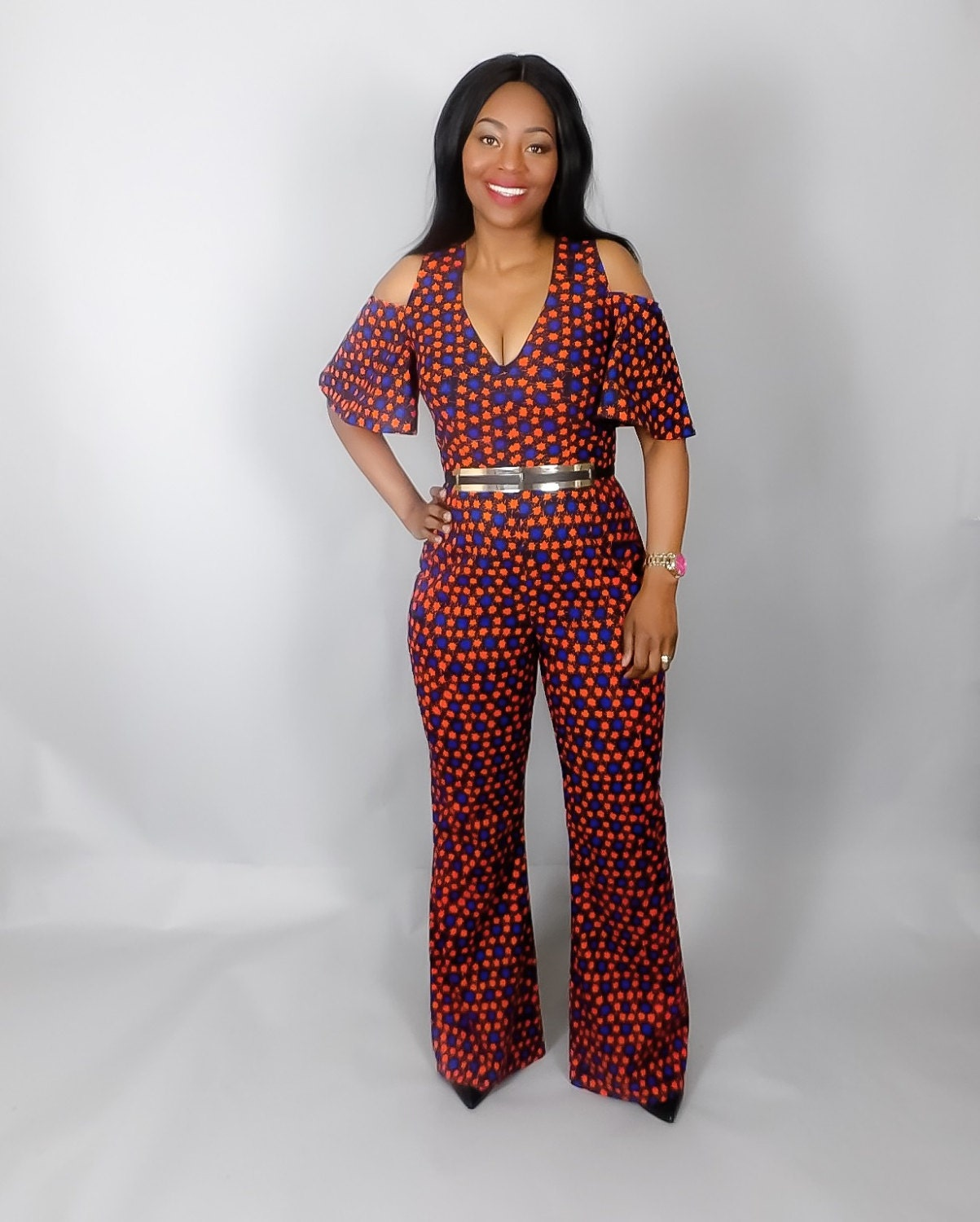 NEW IN African print cold shoulder jumpsuitAfrican