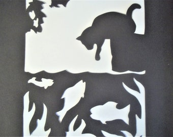 Paper Silhoutte of Cat and Fishes - Framed