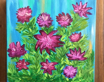 Purple Flower Painting - Purple Flowers Floral Art Wall Hanging - Acrylic on Canvas - 12 x 12 Painting -