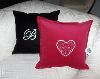 Custom Rasberry Red Heart Monogrammed Pillow