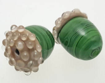 Glass Acorn Lampwork Bead or Charm - Green