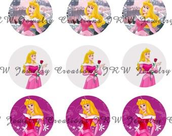 Disney's Sleeping Beauty inspired 1 Inch Bottle Cap Images - Aurora