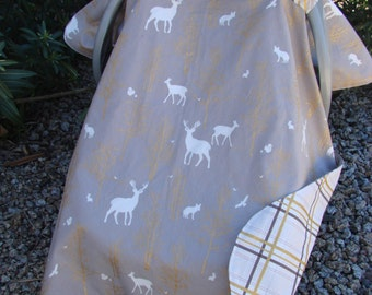 Boys Car Seat Canopy -  Baby Car Seat Cover - Deer Car Seat Canopy - Woodland Car Seat Cover - Gold Car Seat Canopy - Baby Shower Gift