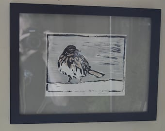 Hand Tinted Linoleum Print of a Song Sparrow