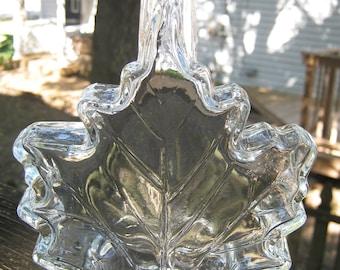 Bottle Shaped Like A Leaf, Maple Leaf Bottle, Clear Glass Bottle, White Screw On Lid, 6 3/4 Inch Bottle, Novelty Bottle,