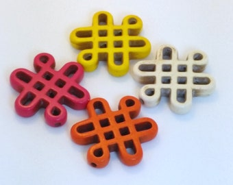Set of 3 - Large Howlite Celtic Knot Beads - Assorted Colors
